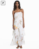 White House Black Market Petite Strapless Floral Tiered Maxi Dress