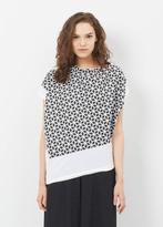 Issey Miyake black / white ss geo print facet top