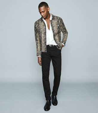 Reiss HOUSTON Snake-effect leather jacket Ecru