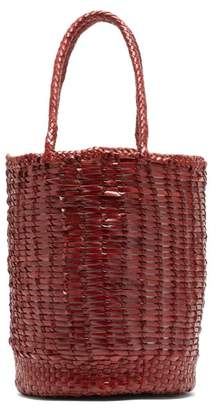 Dragon Optical Diffusion - Lizard Woven-leather Tote Bag - Womens - Burgundy
