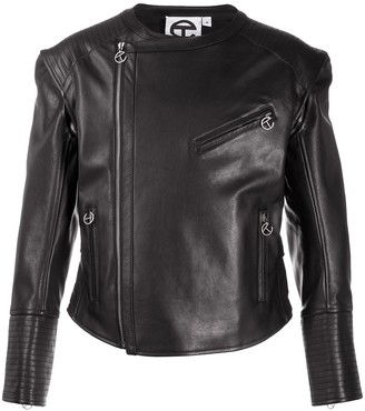 Telfar Detachable-Sleeve Leather Biker Jacket