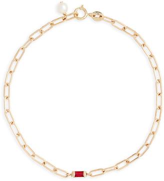 Poppy Finch 14k Gold Interlocking Chain Ruby Bracelet