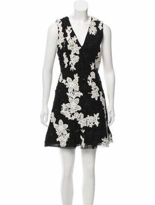 Alice + Olivia Embellished Mini Dress w/ Tags Black