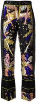 Emilio Pucci feather motif cropped trousers - women - Silk - 42