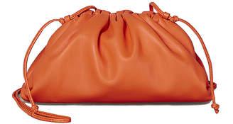 Bottega Veneta Mini Leather Pouch Clutch Crossbody Bag in Light Orange & Gold | FWRD