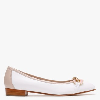 Luca Grossi Shadow Nude & White Leather Ballet Pumps