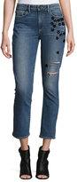 Paige Jacqueline Star-Appliqué; Cropped Straight-Leg Jeans, Jupiter Embellished