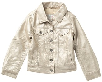 Urban Republic Metallic Faux Leather Trucker Jacket (Little Girls)