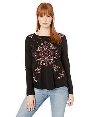 Lucky Brand Women's Embroidered Long Sleeve TEE
