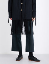 Song For The Mute Strap-detail wide cropped high-rise satin trousers