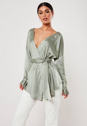 Missguided Green Extreme Oversized Satin Plunge Tie Waist Blouse