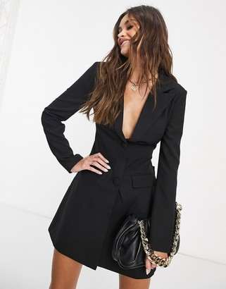 4th + Reckless blazer dress with cut out back detail in black