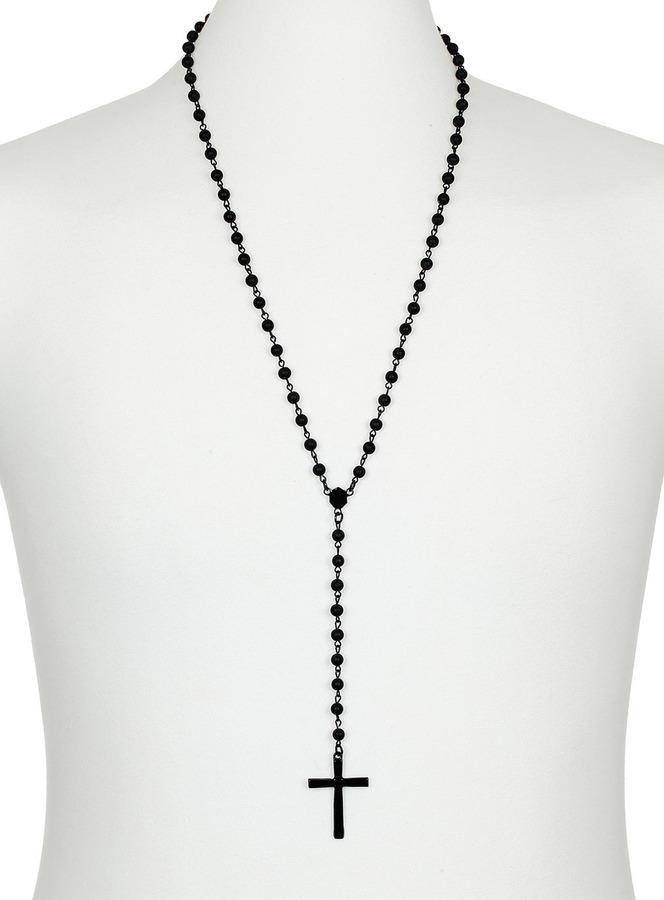 Topman Black Matt Cross Rosary Necklace