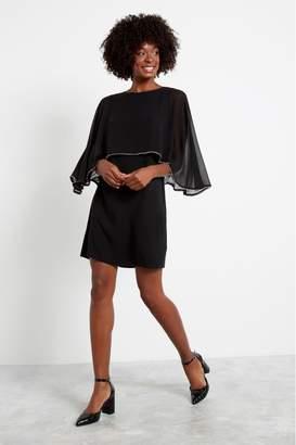 F&F Womens Black Cape Trim Pleated Dress - Black