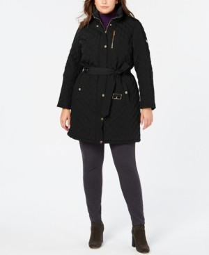 Michael Kors Michael Plus Size Hooded Belted Jacket, Created for Macy's