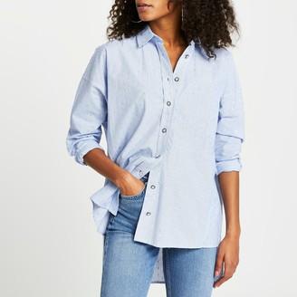 River Island Womens Blue oversized jewelled button shirt
