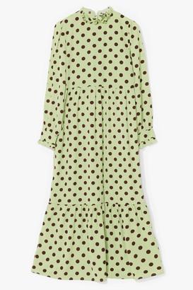 Nasty Gal Womens Polka Dot Tiered Long Sleeve Maxi Dress - Green - 4