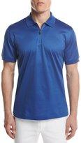 Brioni Cotton Zip Polo Shirt, Royal Blue