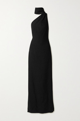 Adam Lippes One-shoulder Draped Boucle Gown - Black