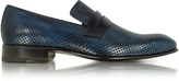 Forzieri Italian Handcrafted Ocean Blue Perforated Leather Loafer Shoe