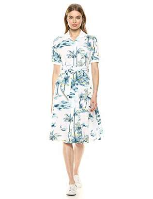 Lacoste Women's S/S Belted Hawaiian Print Pique Polo Dress