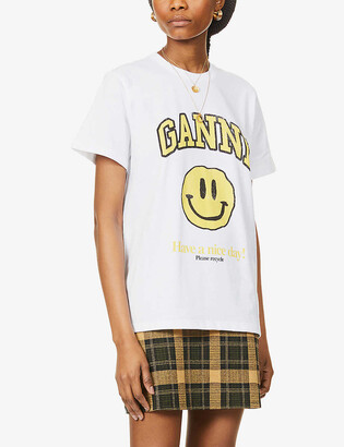 Ganni Have A Nice Day brand-print organic cotton-jersey T-shirt