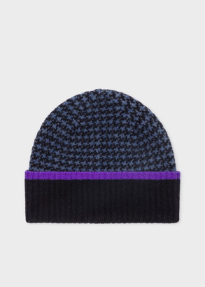 Paul Smith Women's Black And Blue Houndstooth Wool Beanie Hat
