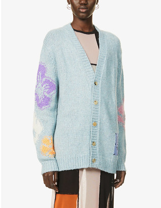 McQ Genesis II embroidered oversized knitted cardigan