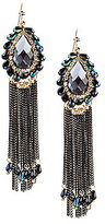 Natasha Accessories Fringe Teardrop Statement Earrings
