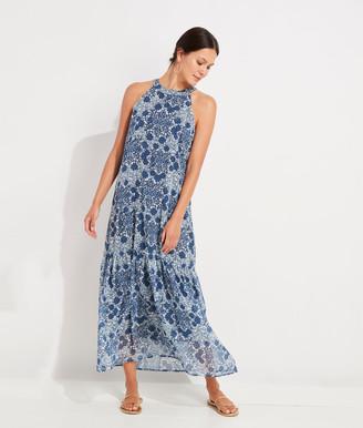 Vineyard Vines Hydrangea Floral Halter Maxi Dress