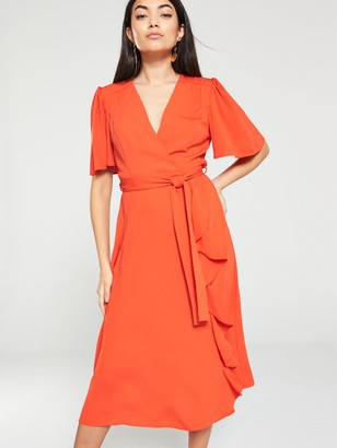 Very VIENNA Wrap Frill Midi Dress - Orange