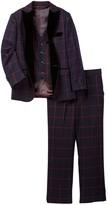 Isaac Mizrahi Three Piece Windowpane with Velvet Wool Blend Collar Suit (Toddler, Little Boys, & Big Boys)