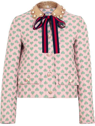 Net-a-Porter Gucci for Leather-trimmed Jacquard Jacket - Pastel pink