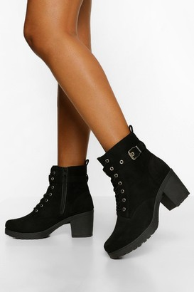 boohoo Buckle Lace Up Chunky Hiker Boots