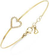 Macy's Diamond Heart Wire Bracelet in (1/6 ct. t.w.)