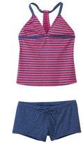 Splendid Girls' Malibu Stripe Tankini & Boy Short Two Piece Set (7yrs14yrs) - 8140950