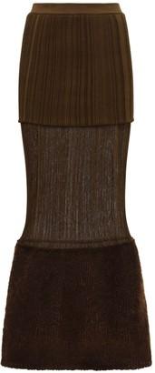 MONCLER GENIUS Layered Raw Wool & Silk Knit Midi Skirt