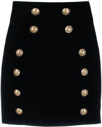 Balmain Button Detailed Fitted Skirt