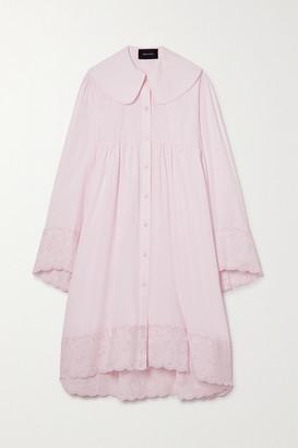 Simone Rocha Scalloped Embroidered Cotton-poplin Shirt Dress - Pastel pink