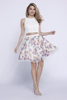 Nox Anabel Beaded Two-Piece Jewel Short Cocktail Dress with Lace Crop Top and Floral A-Line Skirt