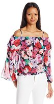 XOXO Women's Ruffled Peasant Top