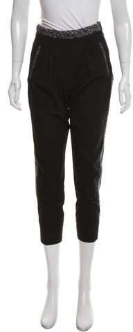 Robert Rodriguez Silk-Trimmed High-Rise Pants