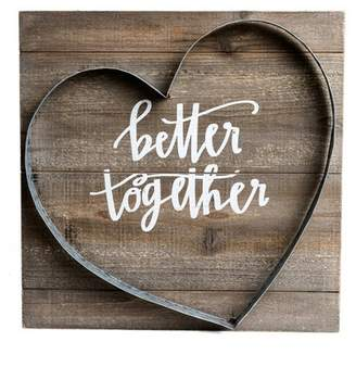 """Patton Wall Decor 16""""x16"""" Better Together Metal and Wood Plank Wall Art Brown"""