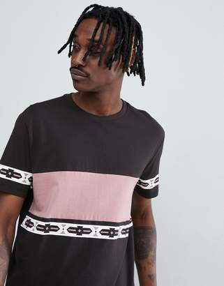 Asos Design DESIGN relaxed t-shirt with colour block and aztec print-Grey