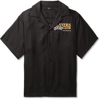 Amiri Camp-Collar Leather-Trimmed Appliqued Silk-Twill Shirt