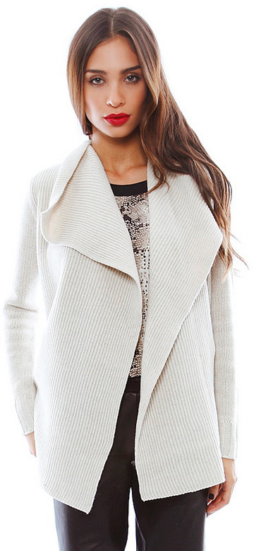 Vince Drape Front Cardigan in Ivory