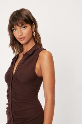 Nasty Gal Womens Ruched Detail Sleeveless Mini Shirt Dress - Brown - 12
