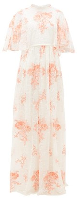 Giambattista Valli Rose-embroidered Cape-sleeve Lace Gown - Ivory Multi