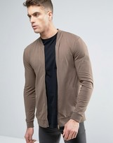 Asos Lightweight Muscle Jersey Bomber Jacket In Brown