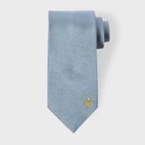 Paul Smith Men's Rabbit Embroidered Sky Blue Silk Tie